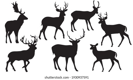 pack of Deers vector silhouette illustration isolated on white background