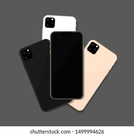 Pack of different colors new 2019 modern mobile phones mockup isolated on dark grey background. Black, white and gold phones. Vector illustration