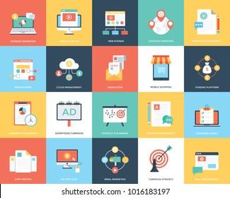 A Pack Of Digital Marketing Flat Vector Illustration