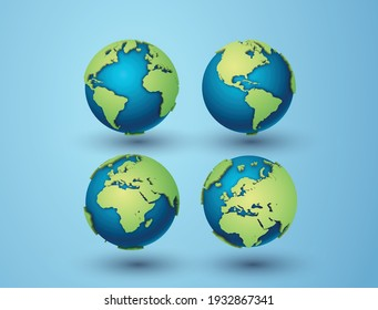 Pack of earth globes and America,Africa, Europe