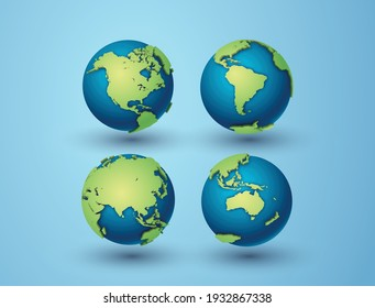 Pack of earth globes with Asia,North America,South America,Australia