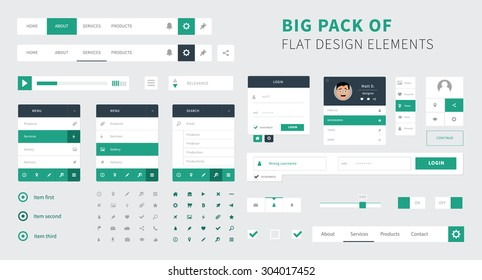 Pack of Flat design ui kit vector for webdesign / Style flat ui kit design elements set for web design. Flat icons with menu, search bar and social bar.