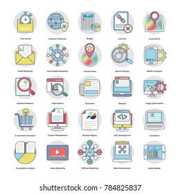 Pack Of Flat Digital and Internet Marketing Icons