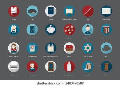 Pack of flat Synagogue Icons
