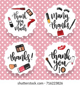 Pack of four make-up thank you stickers. Thank you labels. Thank you cards