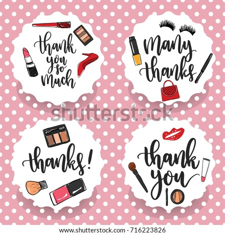 pack four makeup thank you stickers stock vector royalty free