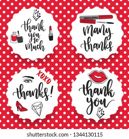 Pack of four make-up thanks stickers. Thank you labels. Thank you cards - Vector
