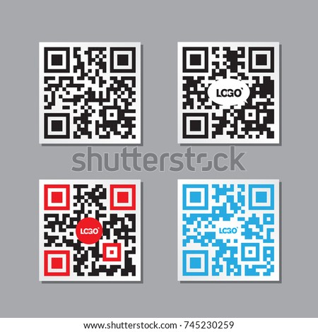 Pack Four Qr Code Labels Vector Stock Vector (Royalty Free