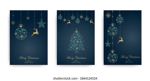 Pack of greeting cards with Christmas  ball, christmas tree and dear made from gold and turquoise snowflakes on dark background. Holiday pattern. Vector illustratio
