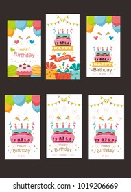 pack of happy birthday card design