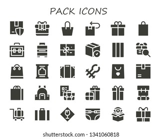 pack icon set. 30 filled pack icons.  Collection Of - Package, Gift, Bag, Present, Shopping bag, Suitcase, Baggage, Chewing gum, Wipes, Luggage, Tongs, Backpack, Briefcase, Presents