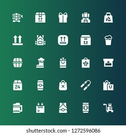 pack icon set. Collection of 25 filled pack icons included Package, Beer, Box, Shopping bag, Nunchaku, Lunch box, Backpack, Side up, Bag, Present