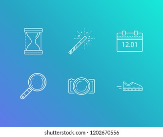 Pack icon set and photography with review, run and time. Search related pack icon vector for web UI logo design.