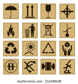 Pack Icon Set Symbol on The Cardboard Box for Transportation and Delivery. Vector illustration of Handling icons like fragile, recycle, caution signs for shipping
