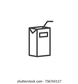 Pack of juice line icon, outline vector sign, linear style pictogram isolated on white. Symbol, logo illustration. Editable stroke