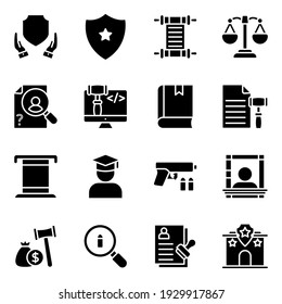 Pack of Law Solid Icons