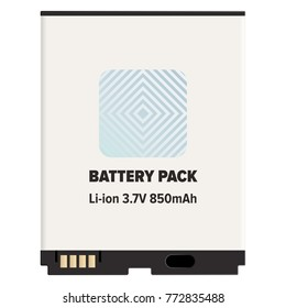 Pack li-ion or lithium-ion battery LIB isolated on white. Vector of rechargeable battery in which lithium ions move from negative to positive electrode during discharge and back when charging