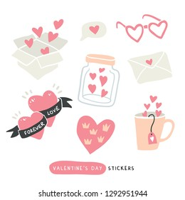Pack of love stickers with hearts. Hand drawn hearts, words, mug, bottle, box in doodle style. Love concept. Freehand drawing. Valentines day decoration elements. - Vector