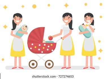 Pack of Mom/Nanny/Baby sitter Taking Care The Baby - Vector Characters