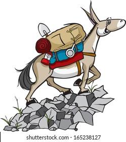Pack Mule A cartoon Pack Mule with gear. Vector file.