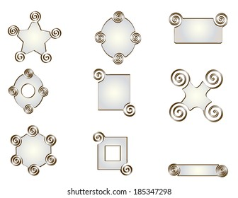 Pack nine abstract vector shapes in pearl and decorated with spirals and metallic tones edges: star, round, rectangular, square, X, hexagonal.