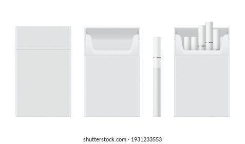 Pack or packet of cigarettes open, closed, empty, filled realistic mockups set. Copy space. Place for image. Front view. Vector smoking templates collection isolated on white background.
