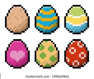 Pack of pixel Easter eggs