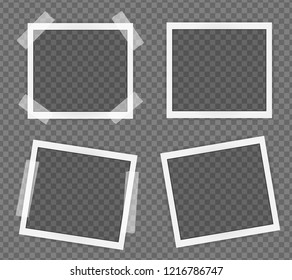 Pack of Polaroid square frame template on sticky tape with shadows isolated on transparent background. Vector illustration
