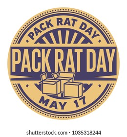Pack Rat Day, May 17, rubber stamp, vector Illustration