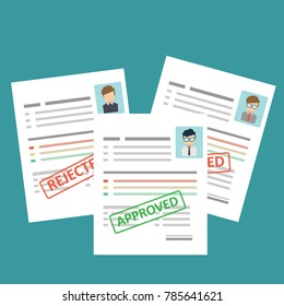 """A pack of resume sheets with a """"Approved & Rejected"""" stamp. Employment, hiring concepts. Vector illustration in flat design, CV, resume template"""