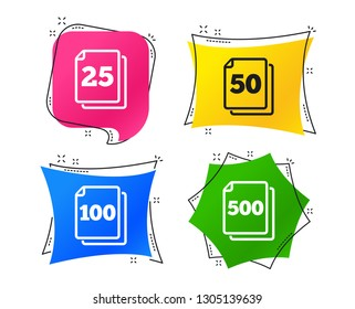In pack sheets icons. Quantity per package symbols. 25, 50, 100 and 500 paper units in the pack signs. Geometric colorful tags. Banners with flat icons. Trendy design. Vector
