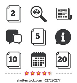 In pack sheets icons. Quantity per package symbols. 2, 5, 10 and 20 paper units in the pack signs. Newspaper, information and calendar icons. Investigate magnifier, chat symbol. Vector