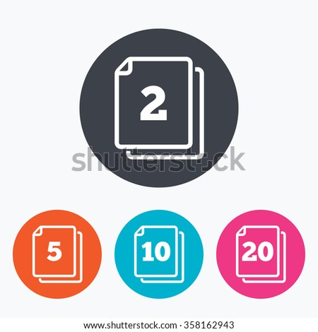 in pack sheets icons quantity per package symbols 2 5 10 and
