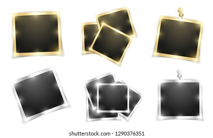 Pack of square realistic gold and silver shining Polaroid frame templates with shadows isolated on white background. Vector illustration