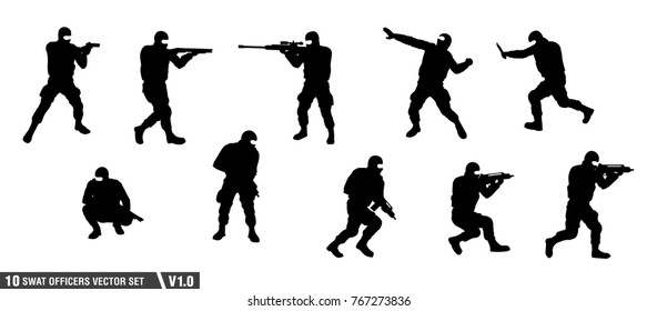 a pack of swat officers silhouette vector set