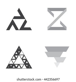 Pack of Triangle logo. Set with grey and black triangles logotypes.