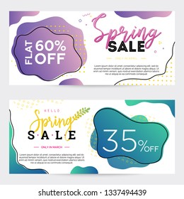 Pack of two sale banners, templates for spring holiday, colorful dual-gradient liquid forms and geometric elements on background