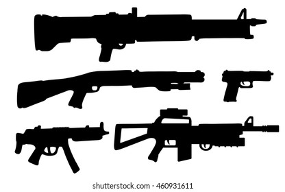 Pack of various guns. Vector illustration