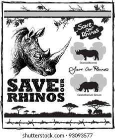Pack of vector elements for saving our endangered rhinos from poaching. Includes white and black rhino footprints and acacia thorns