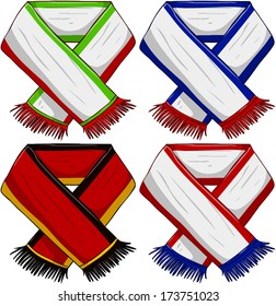 A pack of vector illustrations of famous sports teams scarfs.