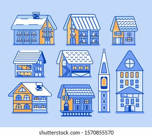 A package of 9 houses that can be found in a winter resort. Each house can be used in its composition. Homes can be animated.