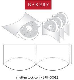 Package for bakery.Ready to eat.Vector Illustration of Box.Package Template.Clear Mock up. Isolated White Retail Mock up.