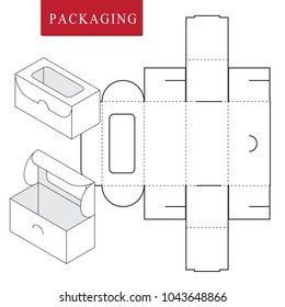 Package for bakery.Vector Illustration of Box.Package Template. Isolated White Retail Mock up.