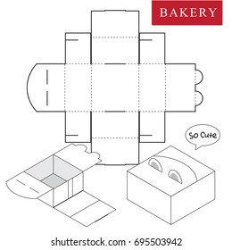 Package for bakery.Vector Illustration of Box.Package Template. Isolated White Retail Mock up.No glue.