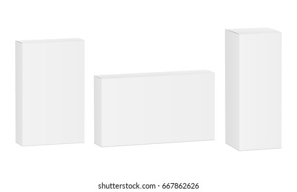 Package box mockup - thin, high and wide rectangle. Vector illustration