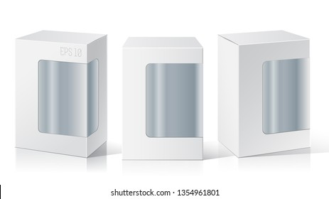 Package Box with a transparent window. Three different positions. Product Packing Vector.