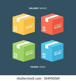 Package boxes icons set. Free, express, same day and next day delivery. Vector illustration.