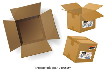 Package boxes. Open box. Vector.