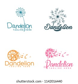package dandelion logo template vector