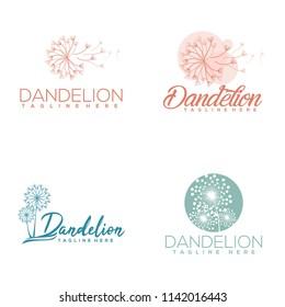 package dandelion logo template vector